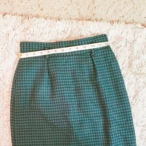 Vintage Green/Black Houndstooth Pencil Skirt